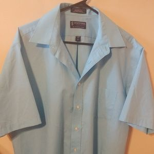 Stafford Shirt Button Up Blue Mens Classic Size 17